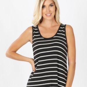 CATO ACTIVE STRIPED TANK TOP BLACK & WHITE L NWOT